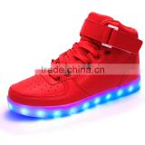 Top grade high upper led children shoes with White/Black kids led shoes