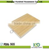2016 Hot sale Zebra Stripes bamboo cutting Board with metal ring handle cutting board with scale