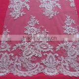 velvet embroidery cream tulle beads embroidery lace fabrics./Textile Stock, 100% Cotton Fabric, Lace, 100% Polyester Fabric
