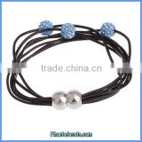 Wholesale Leather Bracelets Black With Blue Crystal Ball Magnetic Clasp New Fashion PLB-FB003D