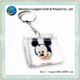 mickey cube plastic clear acrylic keychain/floating key chain/promotional key chain
