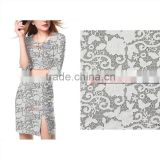 Factory wholesale light gray flower laser cutting embroidery with organza farbric for women's dress with best price