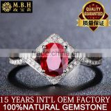 MBH jewellery factory wholesale precious ring 18K gold inlaid diamonds nature red ruby gemstone ring treasure 18k gold jewelry