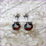 With Epoxy Covering Picture Stainless Steel Custom Tongue Ring [LJ-092]