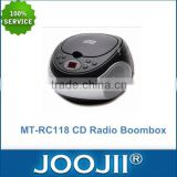 Portable CD Boombox With AM/FM Radio And AC/DC Power Supply, 2016 Newest Portable CD Player Support USB/SD Card
