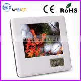 Plastic case LCD calendar temperature weather digital photo frame table clock