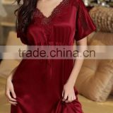 Short Sleeves Sleepwear with Waist Tie Real Silk Lacey Collar Sweet nighgown Pure Silk Pajama Robe