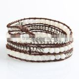 Manual bead weaving bracelet jewelry four laps coil leather bracelets for men and women white silver bracelet bangle whosale