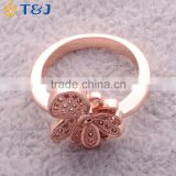 >>>2016 YIWU T&J women fashion Korean style rings gold plated eyes rhinestone crystal butterfly rings for lady/