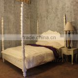 Four Poster Antique White Painted Bed Bianca