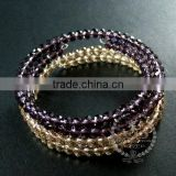 silver flower charm purple,champagne colour crystal faceted glass beads 2 layers wiring bangle fashion bracelet 6490053