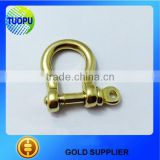 Manual accessories high quality brass adjustable shackle,gold metal 3/8'' bow type shackle with holes