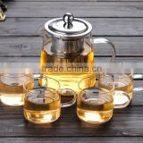 450ml/700ml borosilicate glass teapot heat resistant glass teapot with stainless steel filter