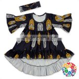 Latest Children Half Sleeve Boutique Birthday Dress Designs Black Feather Milk Silk Dress Toddler