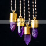 Bullet Shape Natural Stone Necklaces Natural Stone Pendant crystal necklace Crystal Gold Metal Necklace