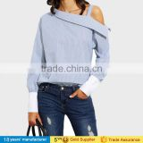 2017 latest women blouse tops sample long sleeve ruffle collar high Neck cotton sarees blouse designs patterns picture