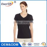 OEM and ODM welcomed Cotton Spandex White / Grey Plain Womens Deep V Neck short sleeve T Shirt