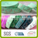 animal design printed colored foil fold over elastic
