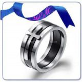 fashion slip cross tungsten tat silver ring
