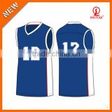 Wholesale custom basketball uniform red/blue/white color cotton/polyester uniforms