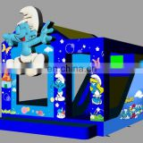 2017 hot Smurfs theme inflatable combo jumper with slide for adults and children