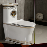 Most Popular Bathroom Colored decal One Piece Toilet Ceramic