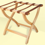 Folding Solid Beech Wood Deluxe Luggage Rack with Five Support Straps (Medium Oak with Brown Webbing)