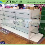 Modern MDF base double-side glass shelves pharmacy display rack for sale                                                                         Quality Choice
