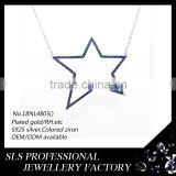 Big star shape pendant necklace jewelry sapphire micro pave and rose gold plated necklace women charms necklace wholesale