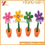 Promotional Gift Flowers Shape Colorful Ballpoint Pen With Pot, Customs Design Silicone Pen
