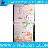 Rabbit bunny Naughty Kid Pinky Color Double Locks 5 Drawer File Cabinet/Baby Plastic Drawer
