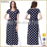 Short Sleeve Side Slit Dot Print Fat Women Casual Dress Factory Supplied