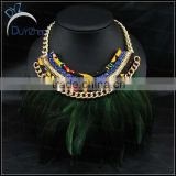 new style 2014 hot selling Necklace Green Feather Necklace With Alloy Chain/Handmade Feather Chain