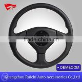 2015 hotsale 360mm classic racing style genuine leather steering wheel with free horn button