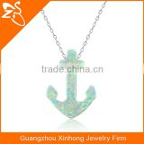 925 silver fashion necklace with anchorshaped opal pendant necklace