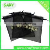 Custom Printed Black Organza Bag with Gold Logo Ribbon