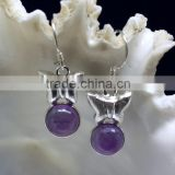 Amethyst Butterfly Shaped Cabochon 925 Sterling Silver Earrings, Fashionable Bezel Earrings, Designer 925 Silver Earrings