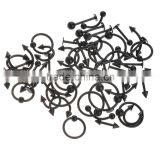 50 Pieces 16G Black Plated Steel Body Piercing Mixed with Nose Ring/Labret/Eyebrow Jewelry/Tongue Ring                                                                         Quality Choice