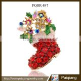 Trendy new christmas jewelry delicate rhinestone sock gift brooch