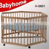 2014 solid wood baby crib wooden baby bed