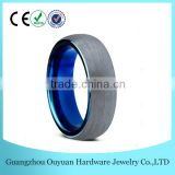 6MM New Dome Blue Tungsten Carbide Ring for Men Women, Brushed Two Tone Tungsten Carbide Ring