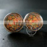 20mm silver plated morocco style flower art collage round glass cabochon fashion cufflinks wedding cuff links gift 6600052