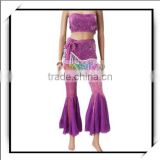 Sexy Belly Dance Costume Halter Top Flares Set Purple