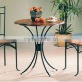 3 Pc Kitchen Dining Round Small Wooden Bistro Table and 2 Chairs Set Brown Black