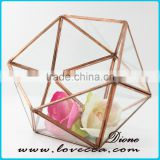 Factory price wedding centerpiece decor terrarium glass geometric copper