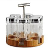 rotatable bamboo spice rack with spice jar and pepper mill grinder