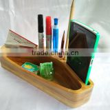 Custom logo bamboo pen holder for desk organizer