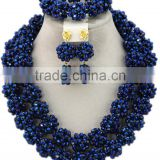 Gold-plated Double Rows Ball Crystal Beads African Jewelry Set