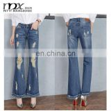 New style damaged jeans flare pant women tassel boot cut jean
