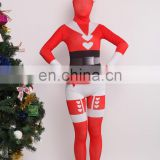 Red Santa Claus Mrs. Claus Full Body Spandex Lycra Zentai Catsuit Skin Suit Cosplay Costume